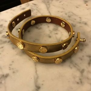 Tory Burch leather wrap bracelet gold GUC